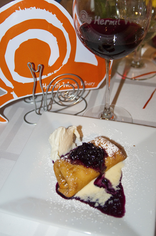 Three-Cheese Blintz, Crème Anglaise, Blueberry Sauce