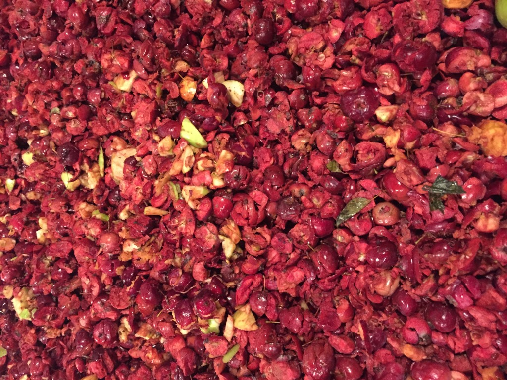 Crushed Crabapples ready to be turned into wine.