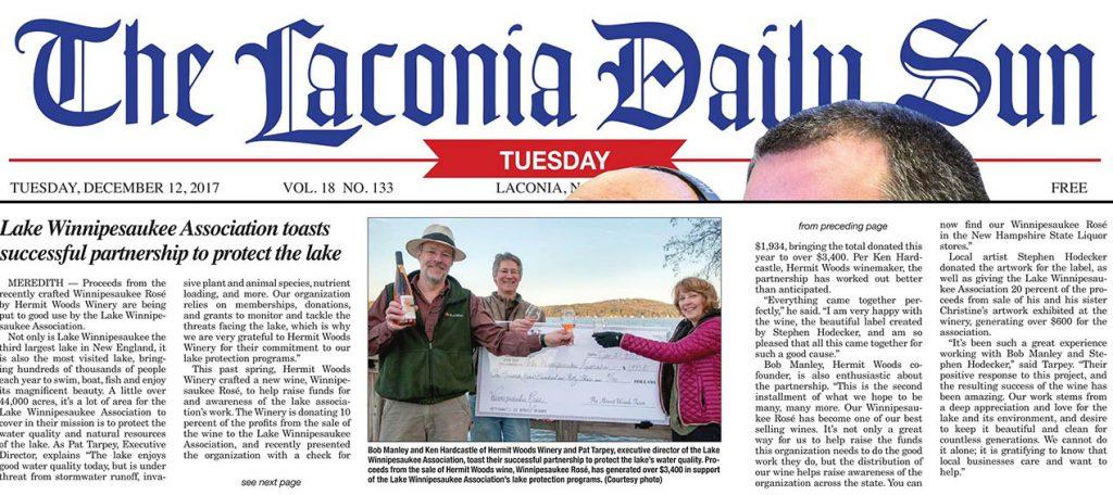 Lake Winnipesaukee Association toasts successful Partnership-Daily Sun-12-2017-web